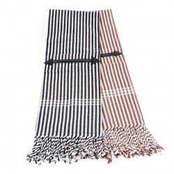 Campotuch mit Tasche schwarz/weiß und braun/weiß