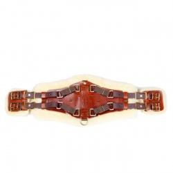 Sattelgurt Xpand, braun, Schnallen verbunden, Unterseite Fell